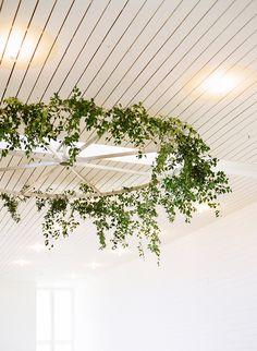 hanging greenery - photo by Sophie Epton Photography http://ruffledblog.com/modern-romantic-wedding-with-boho-details
