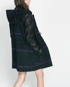 ZARA - WOMAN - DUFFLE COAT WITH HOOD AND LEATHER SLEEVES