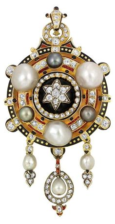 Renaissance Revival Gold, Button Pearl, Gray Pearl, Diamond and Enamel Pendant-Brooch ca 1870