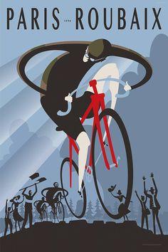 #ParisRoubaix art prints! Looks like this year might be a muddy mess! #cyclingart