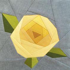 Free Quilt Pattern: Rose Paper Piecing Quilt Block Pattern