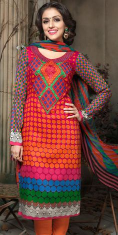#Pink Cotton #Churidar #Kameez with Dupatta | @ $59.08
