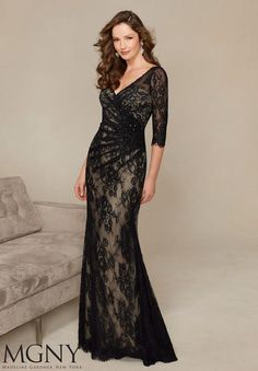 4cb2fe4a Check out the deal on MGNY by Mori Lee 71313 Allover Lace MOB Gown at  French Noveltyhuy