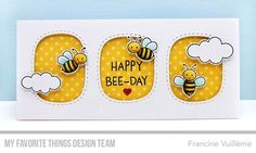 Stamps: Meant to Bee  Die-namics: Meant to Bee, Stitched Triple Peek-a-Boo Windows, Tag Builder Blueprints 6    Francine Vuillème  #mftstamps