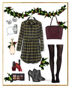 """""""Family christmas"""" by marijime-paperdoll ❤ liked on Polyvore featuring SPANX, Banana Republic, Christian Dior, Nine West, Kevyn Aucoin, Swatch, OPI, Lord & Taylor and NARS Cosmetics"""