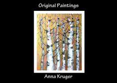 Original Golden Birch Trees in Autumn Abstract Modern Palette Knife Landscape Painting by ModernArtForYou, $142.00