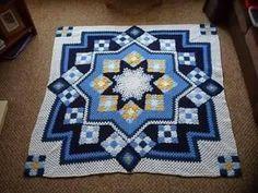 Granny square crochet bed cover