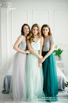 Green Grey Palette Bridesmaids Lace Mary Dress, Long Emerald Waterfall Bridesmaids Skirt , Green Grey Engagement Prom Dresses Plus Size Separate THIS LACE TOP with 3 sleeves length here in 29 colors - Bridesmaid Dresses Online, Wedding Bridesmaid Dresses, Prom Dresses, Bridesmaid Ideas, Bridesmaids, Wedding Gowns, Crop Top Plus Size, Plus Size Long Dresses, Lace Dress