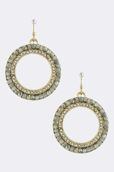 Vines of Jewels - Round Sparkling Grey Bead Earrings, $12.00 (http://www.vinesofjewels.com/products/round-sparkling-grey-bead-earrings.html) vinesofjewels.com