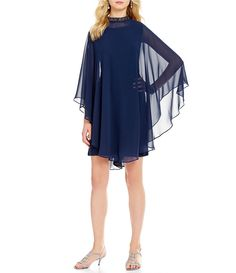 022e1ed82e71 S.L. Fashions Mock Neck Beaded Trim Capelet 2-Piece Dress | Dillards