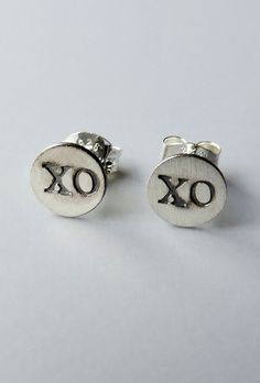 Silver Hugs & Kisses Stud Earrings! Can i have these for Christmas