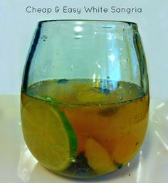 Cheap & Easy White Sangria 1 bottle cheap white wine (I used 2 buck chuck pino grigio) 1/4 cup cheap brandy 1/4 cup triple sec or Grand Marnier 1 lime, juiced 6T Splenda (or fine white sugar) 2 cups fresh citrus fruit or berries (I used peaches, blueberries, and lime slices) 24oz Diet 7up (or be classy and use sparkling water) Combine everything into a pitcher except for the 7up. Give it a good stir with a wooden spoon. Muddle some of the fruit with the back of the spoon as you stir it…