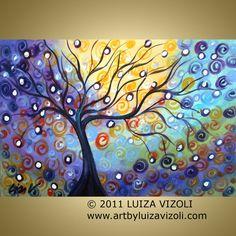 Original Large Painting Fantasy Abstract Tree by LUIZAVIZOLI, $245.00