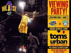 Game 5 of the 2016 @WNBA Finals on Thurs., Oct. 20th at 5pm (PST) in Minnesota. The series is tied 2-2 and this game will determine who wins it all!  Join us for a viewing party to cheer on our Sparks. For more info call 844.GO.SPARKS or email tickets@la-sparks.com. #WeRise #ComeWatchUsWork #GoSparks