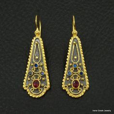 RUBY SAPPHIRE BYZANTINE 925 STERLING SILVER 22K GOLD & RHODIUM PLATED EARRINGS #IreneGrekJewelry #DropDangle