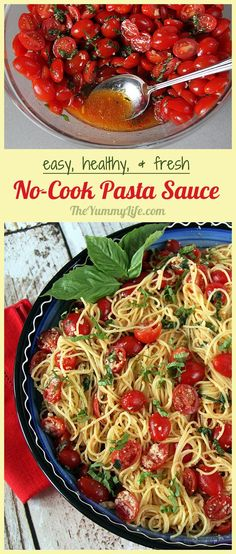 Easy, Fresh, Cherry Tomato No-Cook Pasta Sauce. Combine simple ingredients for a fresh, healthy sauce with big flavor. Service it warm, cold, or at room temperature. Can be made ahead and is great to serve company or take to pot lucks. From The Yummy Life.