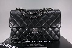 caf46e2dc11e Timeless Luxuries - CHANEL Black Lambskin Classic Double Flap Bag Silver Hw