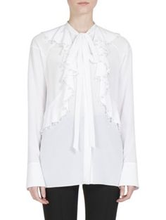 GIVENCHY Pearlized Embellished Ruffle Blouse. #givenchy #cloth #blouse