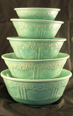Vintage Homer Laughlin; Orange Tree Nesting Bowls ♥