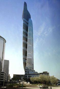 Future Architecture, Tower, Futuristic Skyscraper, The concept for the Father and Son skyscraper, designed by IAMZ Studio.