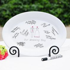 Our Wedding Day Guest Book Platter with Optional Easel I like this for a bridal shower