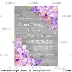 Rustic Wood Purple Flowers Bridal Shower