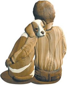 I-207 Dog & His Boy Intarsia Woodworking Pattern JGR