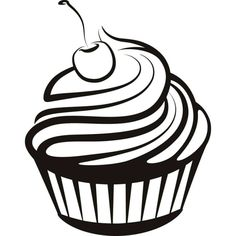 Cupcake Coloring Pages. Yummy, cupcake coloring pages are on this page. The good one is they are very colorful and beautifully decorated cupcakes, perfect for c Cupcake Logo, Cupcake Clipart, Cupcake Art, Clipart Black And White, Black And White Drawing, Cupcake Coloring Pages, Black And White Cupcakes, White Cakes, Cartoon Cupcakes