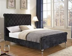 Manila Platform Queen Bed Frame - Black Velvet . . . #furniture #homedecor #interiordesign #design #decor #home #living #office #family #entertainment #luxury #affordable #sale #discount #freeshipping #canada #toronto #usa #america #fashion #design #bedroom #comfort #happy #style #rest #relax #manila #queenbed #queen #bedframe