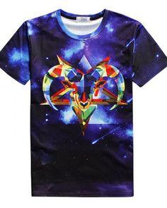 d95f5bb1d 3D geometric sheep t shirt for men bue galaxy tshirts short sleeve Manga  Corta
