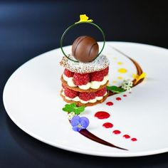 Ercan Ekinci (@chef_ercan_ekinci)  Raspberry-Pistachio Tulie Napoleon, Cream Brûlée Truffle, White Chocolate Mousse, Citrus, & Berry Sauce, Chocolate Glaze #TrueFoodies #fortruefoodiesonly