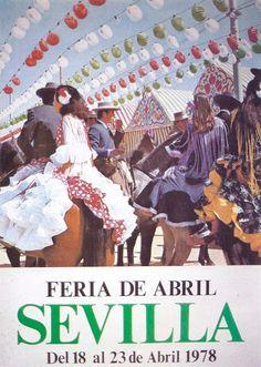 """Cartel de 1978 - Autor Feria: Emilio Sáenz Cembrano """"Tomando una copa"""" Dimensiones: 48 x 68cm / 20.000 ejemplares Litografía:Grafitálica (Sevilla)"""