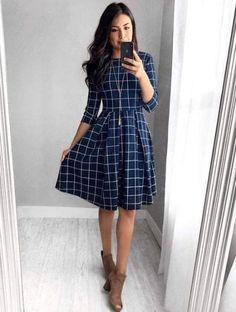 Alice Grid Dress – In der Marine - Kleider Mode Women's Dresses, Fall Dresses, Elegant Dresses, Cute Dresses, Summer Dresses, Wedding Dresses, Formal Dresses, Awesome Dresses, Modest Wedding
