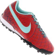 Chuteira Nike Flare 2 TF Society Masculina Vermelha   Verde Água 4a21ae81fbe6f