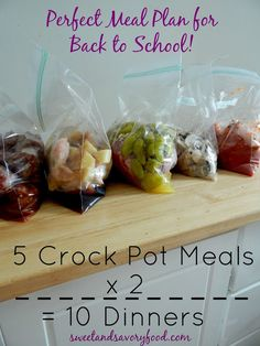5 crock pot meals x 2 = 10 Dinners (sweetandsavoryfood.com)