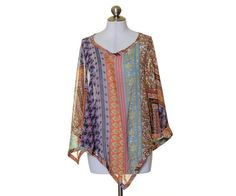 Coldwater Creek Multi-Color Artsy Print Sheer Poncho Top Size MO/S #ColdwaterCreek #Poncho #Casual
