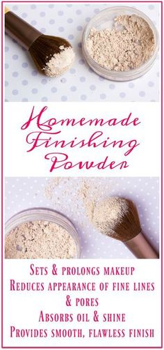 This easy homemade finishing powder DIY recipe absorbs oil and shine, prolongs the wear of makeup, provides a flawless, airbrush looking finish & reduces the appearance of pores and fine lines!