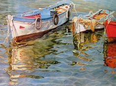 """""""Shimmering Skiffs""""  by Elaine Hahn"""