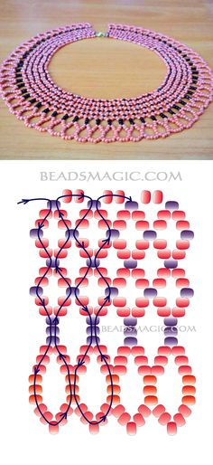 Free pattern for pretty beaded necklace Valencia seed beads 10/0-11/0-13/0
