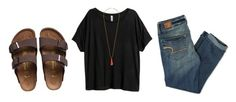 """""""Untitled #305"""" by moony2725 ❤ liked on Polyvore featuring Birkenstock, H&M, American Eagle Outfitters and Miss Selfridge"""