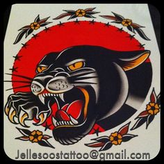 Aching to get a panther for my next ink Traditional Panther Tattoo, Traditional Tattoo Flowers, Traditional Tattoo Old School, Traditional Tattoo Design, Cool Chest Tattoos, Body Art Tattoos, Sleeve Tattoos, Old School Tattoo Designs, Tatoo Designs