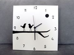 Wooden Clock Designs | ... Wood Clocks | clock wooden happy sun clock black and white birds clock