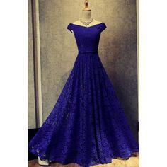Royal Blue Floor Length Off Shoulder Prom Dresses Evening Dresses