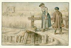 Winter scene; a woman and a boy on a small bridge, Hendrick Avercamp, 1595 - 1634