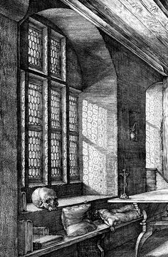 "sakrogoat: "" Albrecht Dürer - Saint Jerome in His Study (detail) """