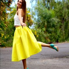 Yellow Circle Midi Skirt Neon yellow midi skirt perfect for any occasion. Dress it down with flats or Spice it up for night time with some cute pumps. Excellent condition. Elastic waist. Not Asos. ASOS Skirts Midi