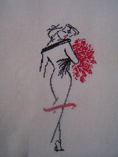 0 point de croix silhouette femme au bouquet - cross stitch lady with flowers