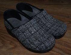 Dansko Vegan black gray white fabric clogs shoes womens size 36 5.5-6 #Dansko #Clogs #Casual