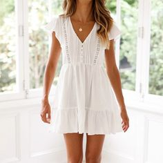 2019 Boho White Ruffle Short Dress 2019 Summer Women Lace Hollow Holiday Dress Female V Neck Pockets Beach Dress Vestidos _ {categoryName} - AliExpress Mobile Version - White Boho Dress, White Dress Summer, White Mini Dress, Dress For Beach, White Sundress Outfit, Short Boho Dress, White Holiday Dress, White Lace Dress Short, White V Neck Dress