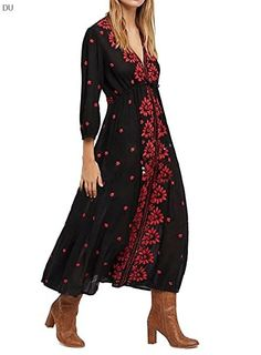 R Vivimos Womens Embroidered Drawstring Dresses Cotton Long Dress, Combo Dress, Maxi Styles, Casual Dresses, Maxi Dresses, Long Dresses, Sleeve Dresses, Cheap Dresses, Vintage Embroidery